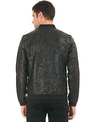 Ed Hardy Tonal Print Pleather Bomber Jacket