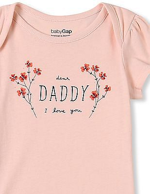 GAP Baby Pink Short Sleeve Mom Dad Bodysuit