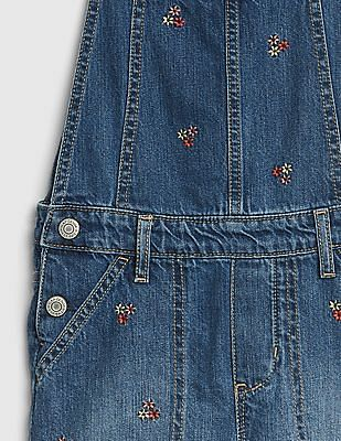 GAP Girls Floral Embroidered Denim Shortalls