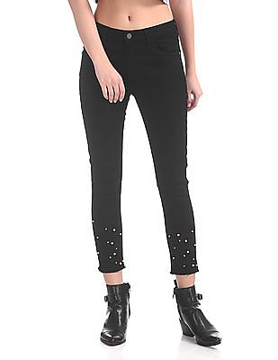 SUGR Bead Embellished Cropped Jeans