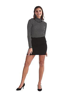 Cherokee Black Striped Turtleneck Sweater
