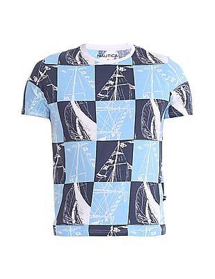 Nautica Short Sleeve Vintage Boat Print Crew T-Shirt