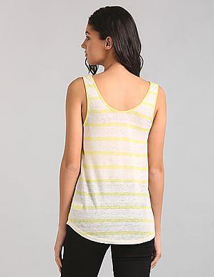 GAP Women Yellow Linen Stripe Scoop Tank