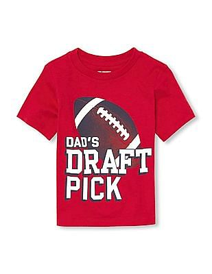 The Children's Place Toddler Boy Short Sleeve 'Dad's Draft Pick' Graphic Tee