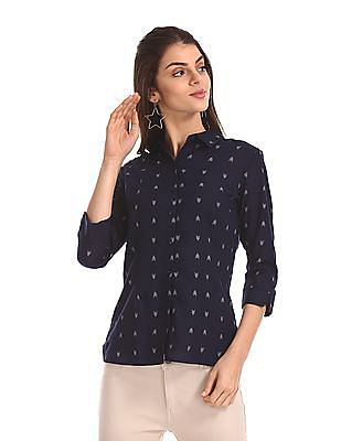 Cherokee Blue Three Quarter Sleeve Printed Shirt