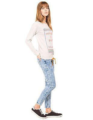 Flying Machine Women Acid Wash Skinny Jeans