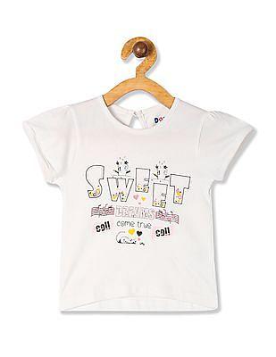 Donuts White Girls Printed Cotton T-Shirt