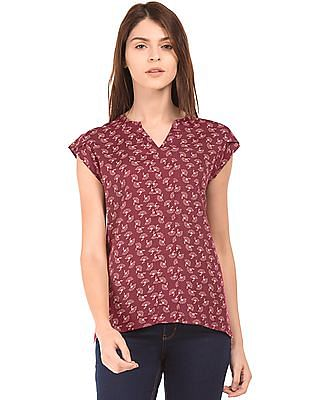 Cherokee Floral Print Notched Neck Top