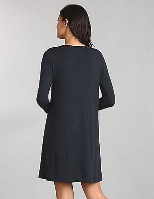 GAP Women Blue Softspun Knit Long Sleeve Swing Dress