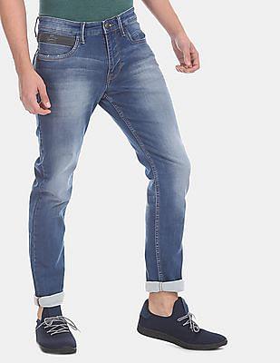 U.S. Polo Assn. Denim Co. Men Blue Brandon Slim Tapered Fit Faded Jeans