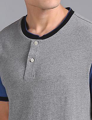 GAP Men Grey Contrast Tipping Logo Henley T-Shirt