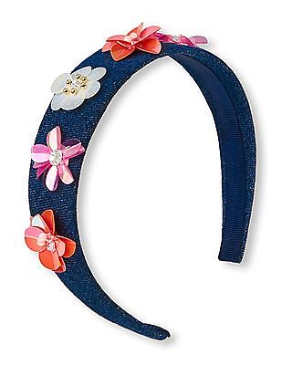 The Children's Place Girls Blue 3D Sequin Flower Denim Headband