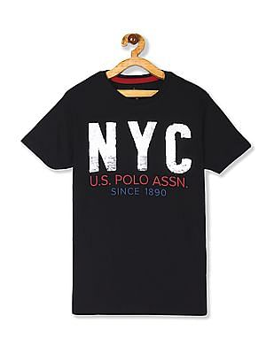 U.S. Polo Assn. Kids Black Boys Flippy Sequin Cotton T-Shirt
