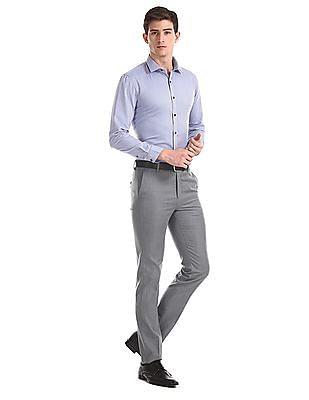 Arrow Newyork Blue Slim Fit Semi Cutaway Collar Shirt