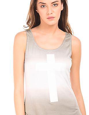 EdHardy Women Ombre Dyed Tie Hem Tank Top