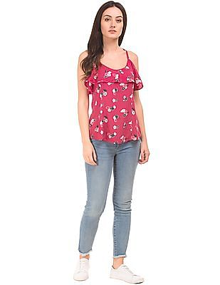 SUGR Floral Print Flared Spaghetti Top