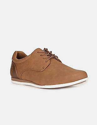 U.S. Polo Assn. Men Brown Round Toe Textured Derby Shoes