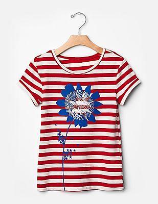 GAP Girls Red Embellished Americana Graphic Tee