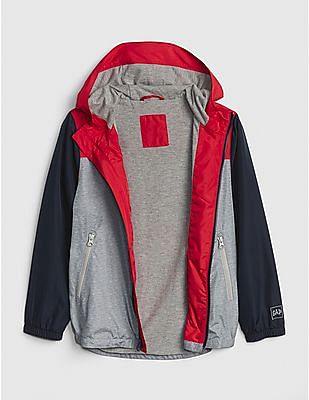 GAP Grey Boys Colorblock Windbuster Jacket