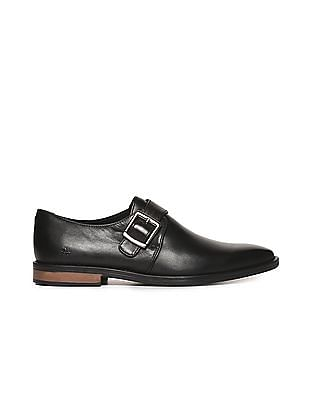 Arrow Leather Monk Strap Shoes