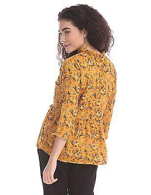 Cherokee Yellow Floral Print Ruffle Trim Top