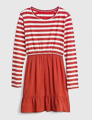 GAP Girls Red Long Sleeve Mix-Fabric Dress