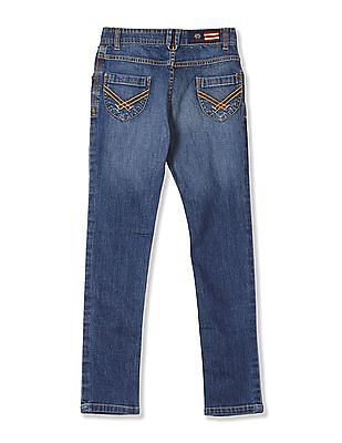 U.S. Polo Assn. Kids Girls Standard Fit Distressed Jeans