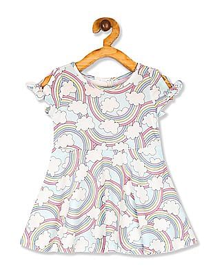 The Children's Place Baby And Toddler Girl Blue Short Tie Sleeve Rainbow Print Knit Dress