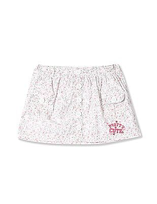 Donuts Girls Floral Print A-Line Skirt