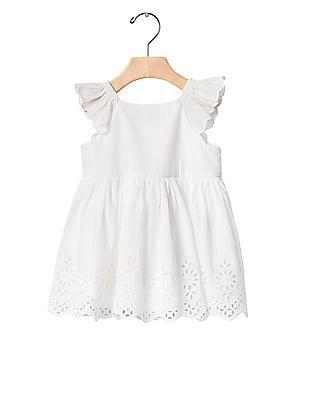 GAP Baby White Eyelet Flutter Dress