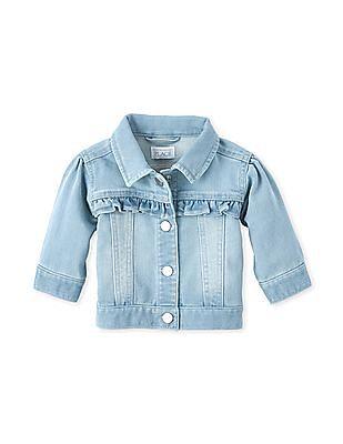 The Children's Place Blue Baby Ruffle Denim Jacket