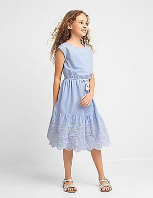 GAP Girls Eyelet Keyhole Midi Dress