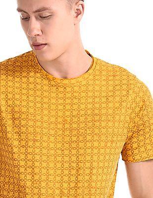 Cherokee Yellow Printed Raw Edge T-Shirt