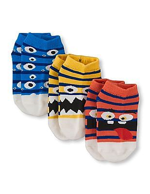 The Children's Place Boys Striped Critter Ped Socks