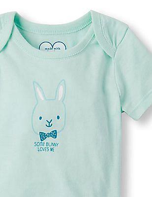 The Children's Place Baby Short Sleeve 'Some Bunny Loves Me' Bowtie Bunny Little Talker Bodysuit