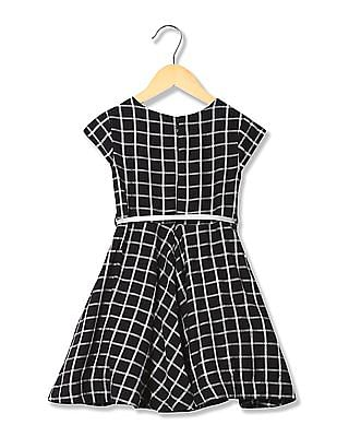 U.S. Polo Assn. Kids Girls Check Fit And Flare Dress