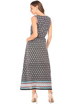 Bronz Monochrome Print Sleeveless Maxi Dress