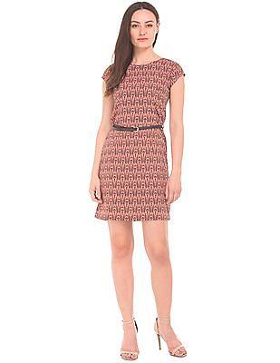 Cherokee Printed Belted Sheath Dress