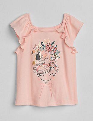 GAP Toddler Girl Metallic Graphic Flutter T-Shirt