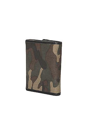 Flying Machine Green Tri-Fold Camo Print wallet