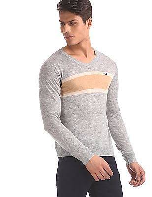 Arrow Sports Grey V-Neck Heathered Sweater