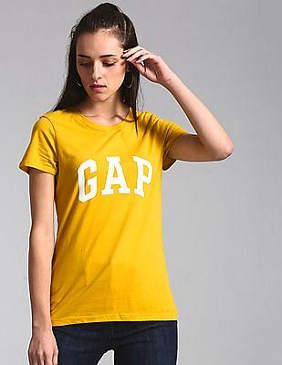 GAP Yellow Logo Short Sleeve Crewneck T-Shirt