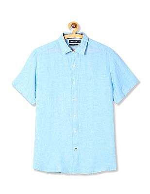 Nautica Short Sleeve Solid Linen Shirt