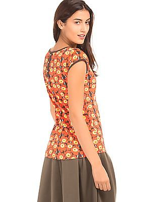 SUGR Floral Print Cotton Top