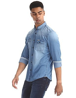 U.S. Polo Assn. Denim Co. Blue Round Cuff Button Down Collar Shirt
