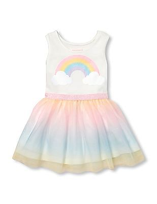 The Children's Place Baby And Toddler Girl Sleeveless Glitter Rainbow Knit-To-Woven Tutu Dress