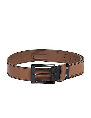 Flying Machine Brown Stitched Edge Leather Belt