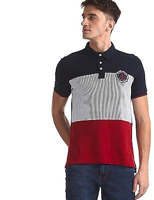 Arrow Sports Blue Cut And Sew Panel Striped Polo Shirt