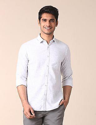 True Blue Mitered Cuff Horizontal Stripe Shirt