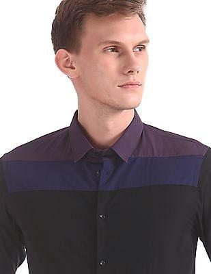 Arrow Newyork Snug Skinny Fit Colour Blocked Shirt